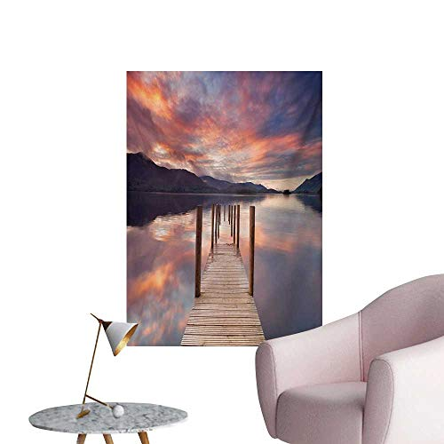 Anzhutwelve Landscape Photographic Wallpaper A Flooded Jetty in Derwent Water Lake District England Sunset Morning PhotoCoral Purplegrey W32 xL48 Poster Print