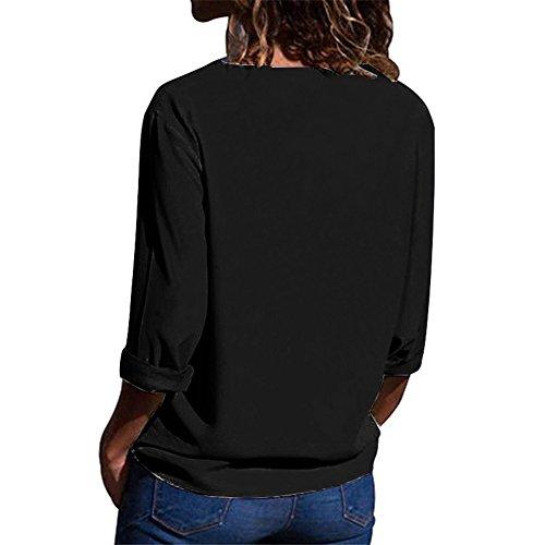 Aswinfon Manche Chemise Femme V Blouse Noir Col Tunique Classique Casual Chic Top Longue Fluide FrSwFE4xq
