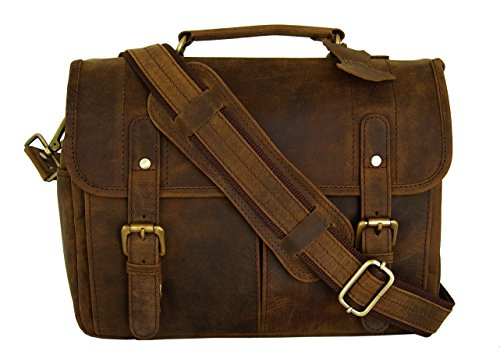 Vintage Rustic Look Leather Camera Messenger Bag By Basic