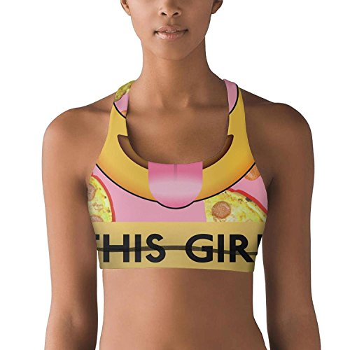 Price comparison product image Armsttm Women Racerback Sports Bras This Girl Loves Pizza Gym Yoga Bra with Removable Pads