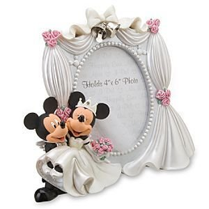 Disney Parks Exclusive Mickey Minnie Mouse Bride Groom Wedding 4x6 Photo Frame - Exclusive Wedding Gown