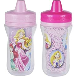 The First Years Disney Princess Insulated Sippy Cup, Easy-to-clean One Piece Lid- 9 Oz, 2 Pack