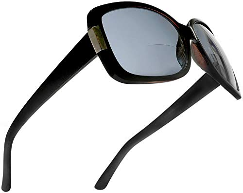Women's BiFocal Sun Readers Fashion Sunglasses - Jackie O French Riviera SunReaders Style in Black +2.50 ()