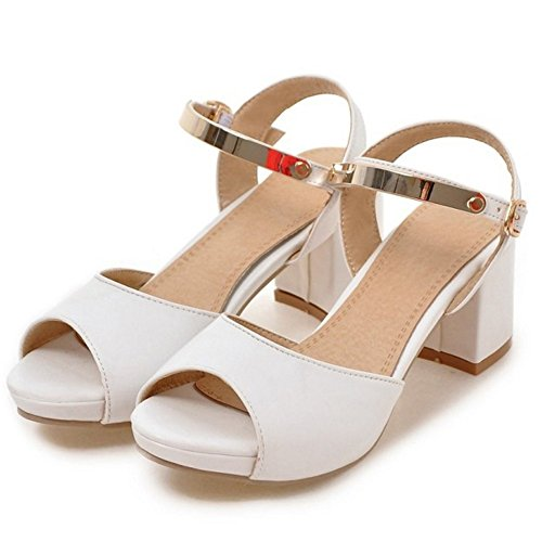 Sandalias RAZAMAZA Blanco Mujer Zapatos Ancho Toe Peep Strappy Tac¨®n Slingback Xn4zTXrd