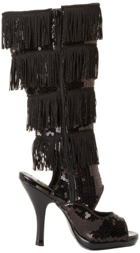 High Knee Flapper Women's Sequins 168 Black BSQ Boot Funtasma UIX4qwWW
