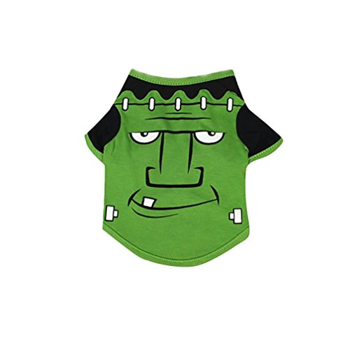Halloween Pet Shirt Wakeu Small Dog Puppy T-Shirts Costume Clothes (S, Green)]()