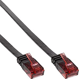 Inline - Cable de red (plano, categoría 6, 5 m), color negro