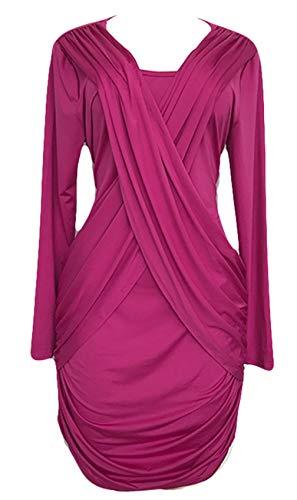 Plus Size Long Sleeve Deep V Neck Cross Wrap Front Shirred Ruched Draped Drape Front Mini Bodycon Dress Purple 3XL -