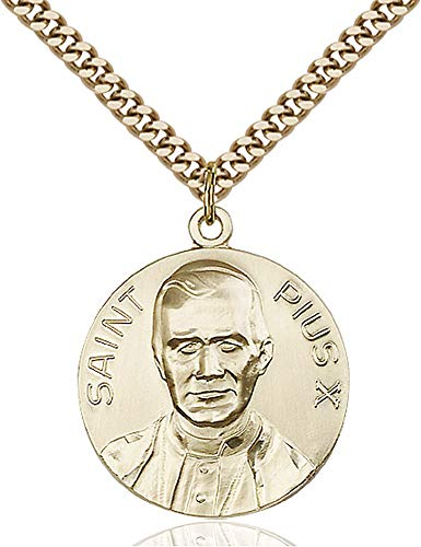 14kt Gold Filled Pope Pius X Pendant, Gold Plate Heavy Curb Chain Patron Saint 1 x 7/8