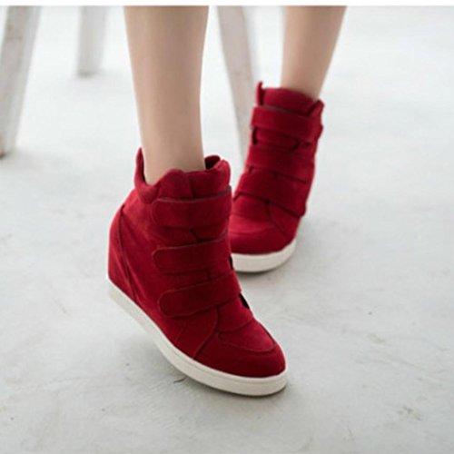 Ouneed Botas Mujer, Moda Mujer Invierno Calzado Oculto Zapatos Calientes Flock Wedge Zapatos de Mujer (40, Rojo)
