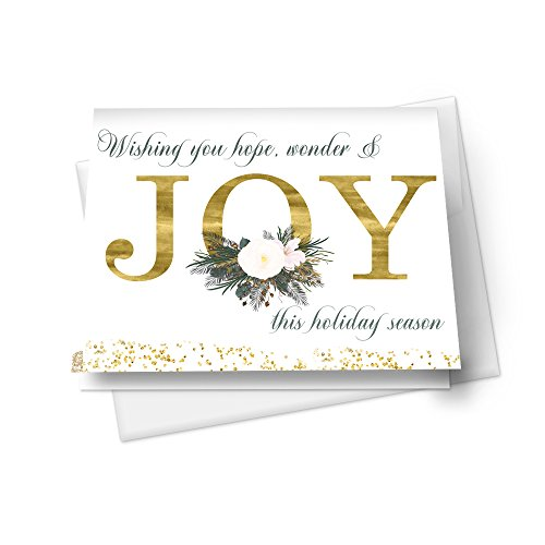 Joy Christmas Card Set (12 Pack) Gold Floral Holiday Greetings (Christmas Personalized Cards Business For)