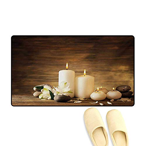 Bath Mat,Winter Valentines Day Couples Themed Candle Flowers and Stones Image Print,Door Mats Area Rug,White Black and Brown,24