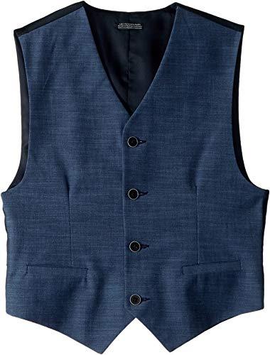 (Calvin Klein Big Boys' Big Patterned Suit Vest, Blue Weave, X-Large(18/20))