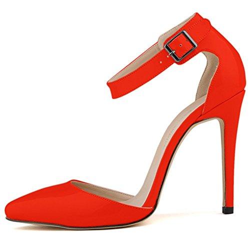 Sandale Pointu Cheville Talon Wealsex Bride Sexy Bout Chaussure Cuir 11 Cm Aiguille Femme Pu Mode Rouge De Escarpins Boucle Soirée Vernis Mariage wfWfFzvqA5