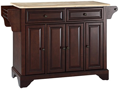 Crosley Furniture LaFayette Kitchen Island with Natural Wood Top - Vintage Mahogany