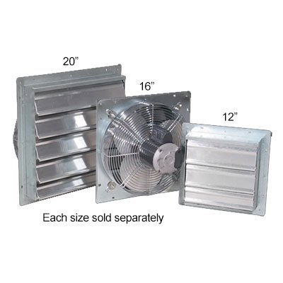 J&D Manufacturing VES161 ES Aluminum Shutter Fan, 16'' Size, 115V/230V, 1/10 hp, 1 Phase, Speed Variable