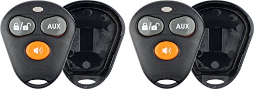 KeylessOption Keyless Entry Remote Control Starter Car Key Fob Case Shell Outer Cover 2 Button Pads For Viper Aftermarket Alarm (Pack of 2)