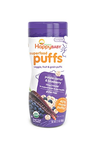 Happy Baby Organic Superfood Puffs, Purple Carrot & Blueberry, 2.1 Ounce (Pack of 6)