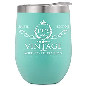 1979 40th Birthday Gifts for Women Men Insulated Wine Tumbler – 12oz Mint Double Wall Vacuum Cup with Lid – Funny 40th Anniversary Gifts Idea, Decorations for Her/Him, Mom, Dad, Husband, Wife