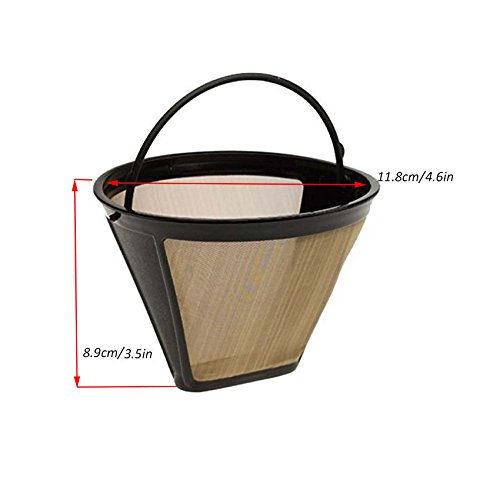 Podoy Gold Coffee Filter with Charcoal Water Filters Cone Style #4 Tone Permanent 6-12 Cup Washable Reusable for Cuisinart Machines and Brewers by Podoy (Image #3)