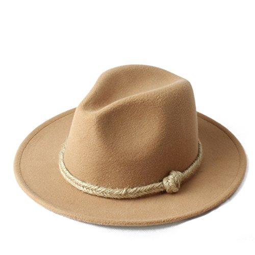 M.D.Y. Women Winter Flat Brim Cowboy Hat Fedora Hat with Hemp Rope for Elegant Lady (Color : 4, Size : 57-58cm)