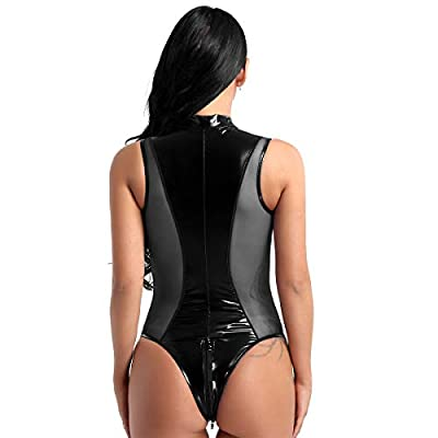 inlzdz Women's Shiny Metallic PU Leather Zipper Crotch Thong Leotard Bodysuit Teddy Lingerie