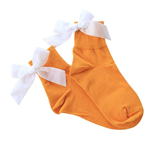 Women Socks,ONLYTOP Women Ankle Socks Bow, Lovely Double Needle Solid Color Lace Edge Relent Lady Socks Yellow ()