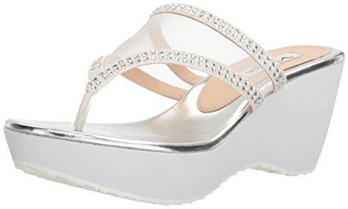 Nina Women's Dalyne Wedge Flip Flop, YM-B-White, 8.5 M US