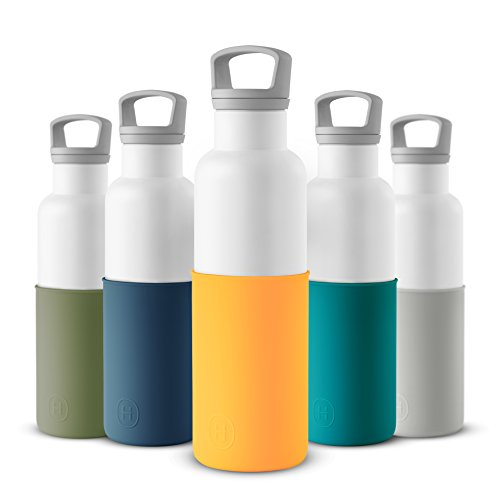 HYDY Vacuum Insulated Thermal Water Bottle 20 oz - BPA Free Stainless Steel - Eco Friendly - Ideal for Exercise, the Office and Travel - Modern Stylish Urban Design (WHITE- PUMPKIN ORANGE)