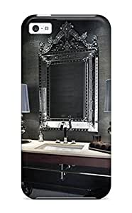 Beautifulcase case Charcoal Gray Bathroom With Ornate Mirror Above Vanity/ Fashionable case cover For Iphone 5c GZbd8eHZM5e