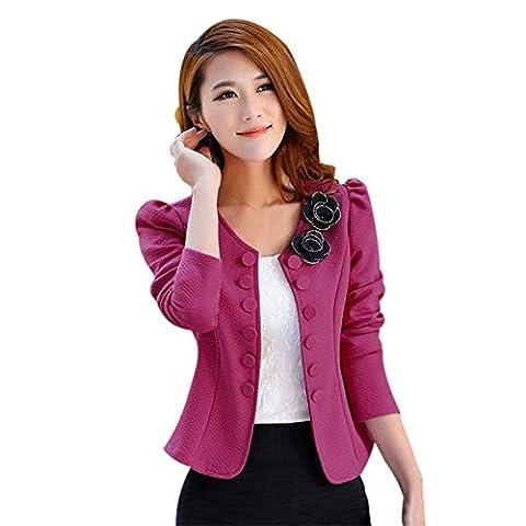 Blackobe Women's Casual Work Office Open Front Slim Fit Jacket Blazer Coat (S, Hot Pink) (Light Wit Stand)