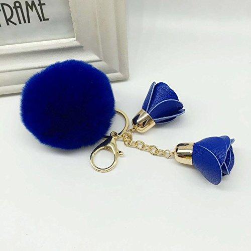 [Royal Blue PomPom Charm Key Ring Handbag Flower Key Chain Phone Car Key Holder Keyfob] (Hair Bows Finger)
