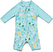 BONVERANO Baby Girl Bathing Suit Long Sleeve UPF 50+ Come with a Hats