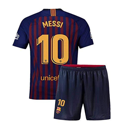 2018/2019 Kid Jersey Youth Jersey Barcelona 10 Messi Home Soccer Jersey Matching Shorts Size 26 11-12 Years Old Blue ()