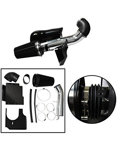"BLACKHORSE-RACING 4"" Cold Air Intake System Kit + Heat Shield for GMC Chevy Chevrolet 1999 2000 2001 2002 2003 2004 2005 2006 V8 4.8L/5.3L/6.0L(Black)"
