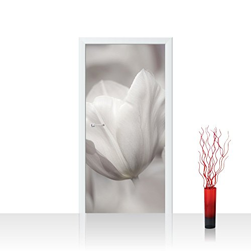One Tulip Canvas (Door Wall Sticker - nature flowers tulips - 39.3