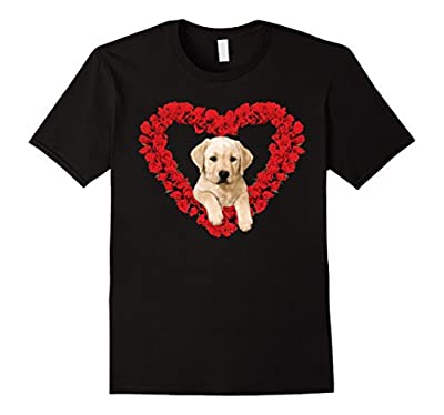 Rose Heart Yellow Lab Puppy Valentines Day Cute T-Shirt