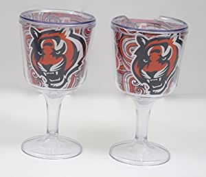 Cincinnati Bengals Wine goblets. Unbreakable Double Wall Wince Cocktail an Drink Glasses, Set of 2