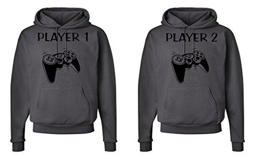 FASCIINO Matching His & Hers Couple Hoodie Sweatshirt Set - Player 1 and Player 2 Gamer ( Large/ Small Smokie Grey) by FASCIINO