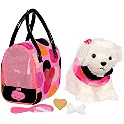 Pucci Pups by Battat - Bichon Frisé Stuffed Puppy with Colorful Polka Dot Stuffed Animal Bag and Pet Accessories