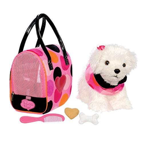 (Pucci Pups by Battat – Bichon Frisé Stuffed Puppy with Colorful Polka Dot Stuffed Animal Bag and Pet Accessories)