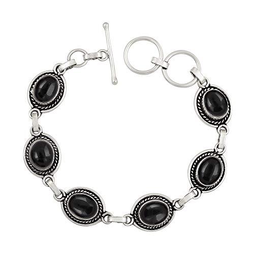 (Genuine Oval Shape Black Onyx Link Bracelet 925 Silver Plated Handmade Oxidized Finish Vintage Bohemian Style Jewelry for Women Girls)