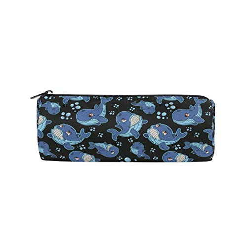(BHRETI Pencil Case Makeup Bag Students Whale Fish Zipper for Boys Girls Round Stationery Bag)