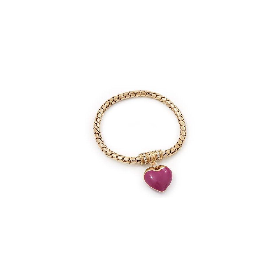 Gold Plated Magnetic Pink Enamel Heart Charm Bracelet   up to 18cm Length