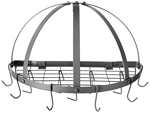 - Old Dutch Half-Round Pot Rack with Grid & 12 Hooks, Graphite, 22