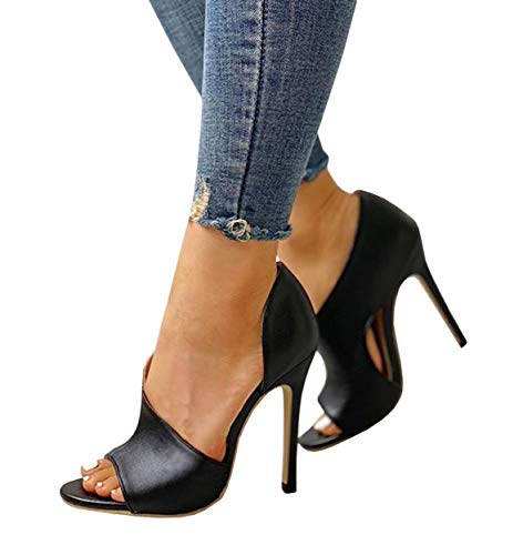 Peep Toe Slide - Womens High Heels Sandals Side Cutout Stiletto Open Toe Slip On D'Orsay Dress Shoes Black