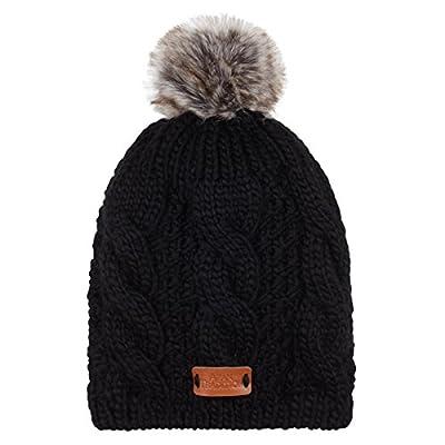 Aran Traditions Black Faux Fur Bobble Hat
