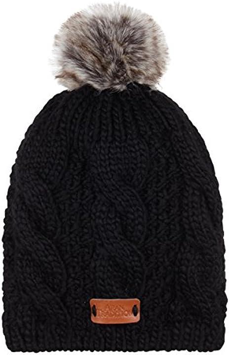 Aran Traditions Navy Blue Cable Knit Faux Fur Pom Pom Bobble Hat