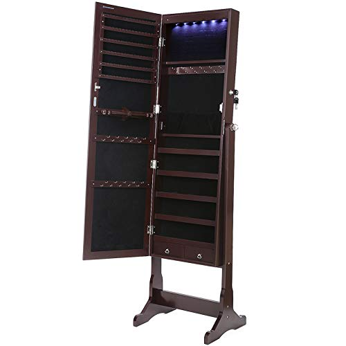 - SONGMICS 6 LEDs Mirror Jewelry Cabinet Lockable Standing Mirrored Jewelry Armoire Organizer 2 Drawers Brown UJJC94K