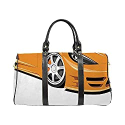 Cars Casual Travel Bag,Orange Sports Car Fast Racing Roadster Modern Automotive Technology Decorative for College